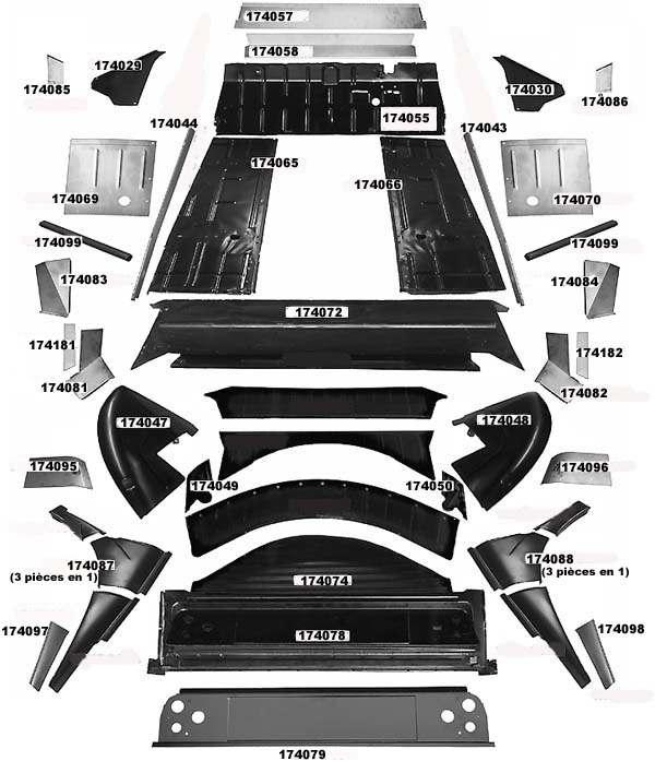 pi ces d tach es 2cv et mehari la 2cv fait l 39 article diagramme des t les int rieures de 2cv. Black Bedroom Furniture Sets. Home Design Ideas