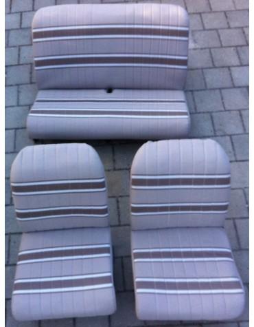 Ensemble de garniture de sièges beige rayé marron 2cv
