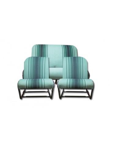 Ensemble garniture rayés verts sièges asymétriques pour 2cv et Dyane