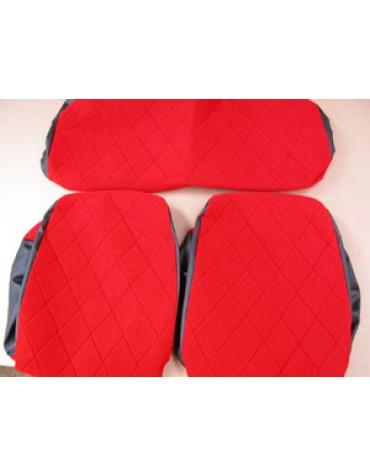 Housses de sièges + banquette tissu  rouge 2cv