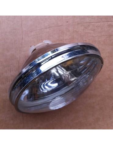 Optique de phare 2cv Cibie avec grand cerclage chromé pour 2cv AZAM ampoules à baionnette