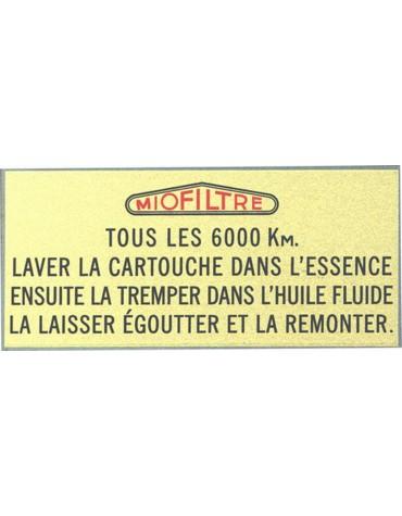 Autocollant Miofiltre pour filtre à air 2cv  Livraison offerte en France continentale