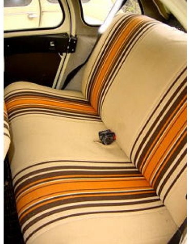 Tissu rayé beige et orange 2cv 1979