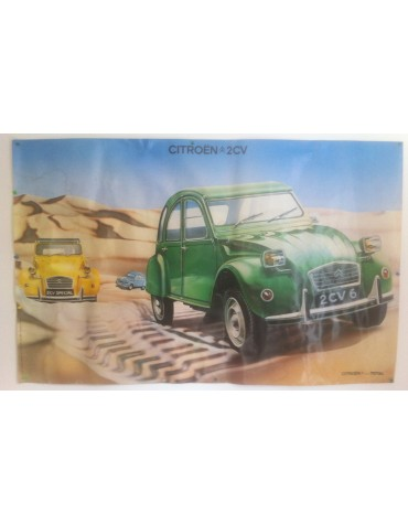 Affiche 2cv vert tuileries dans le désert