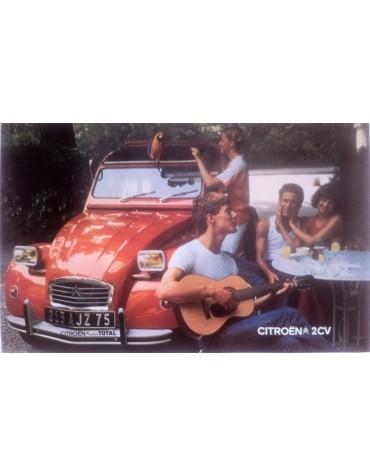 Affiche 2cv orange Ténéré avec le Perroquet