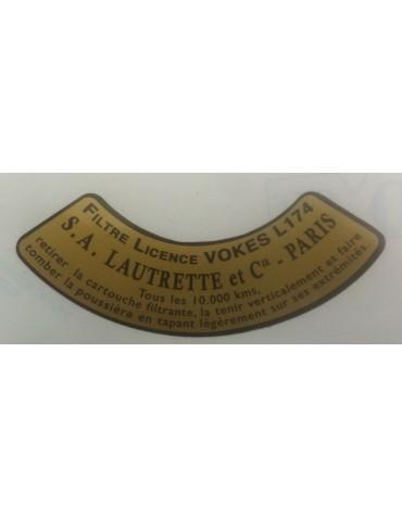 Autocollant en demi cercle pour filtre à air Lautrette licence Vokes