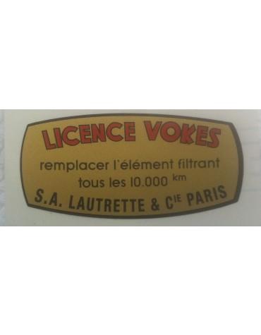 Autocollant pour filtre à air Licence Vokes Lautrette