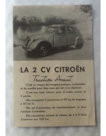Brochure de présentation de la 2cv en 1948