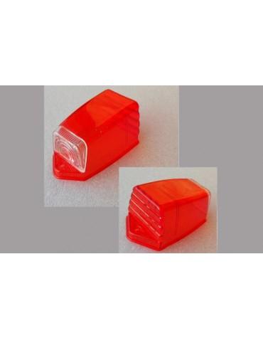 Cabochon nu trapezoidal de clignotant sur custode rouge 2cv AZAM et AZA