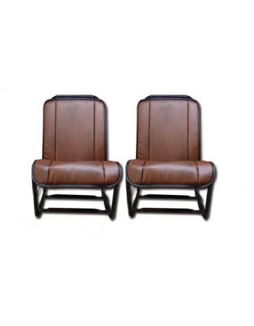 Ensemble de 2 garnitures de sièges en skai marron lisse pour 2cv fourgonnette