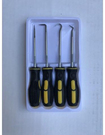 Ensemble de 4 crochets pour démonter les joints tubiques, les joint de pistons d'étrier les ressorts d'arbres à cames etc
