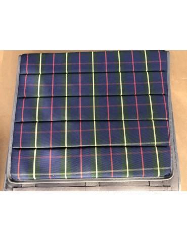 Ensemble de  4 garnitures de sièges 2cv  motif écossais bleu rouge et jaune