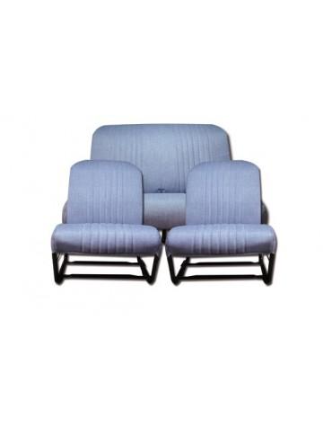 Ensemble de garnitures de sièges dossiers symétrique + banquette arrière 2cv en skai bleu imitation Jean