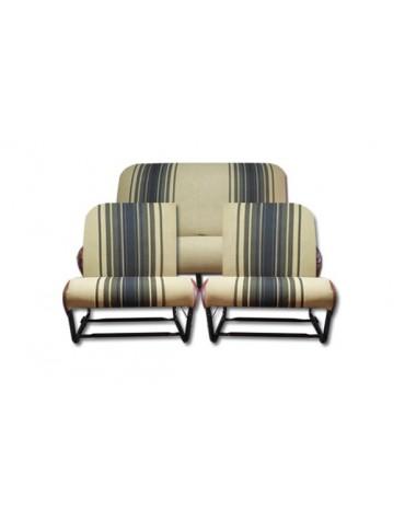 Ensemble de garnitures de sièges rayés marron dossier asymétrique 2cv, Dyane