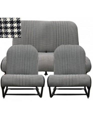 Ensemble de garnitures sièges symétriques et banquette arrière motif pied de poule 2cv et Dyane