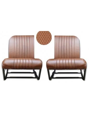 Jeu de 2 garnitures de sièges avant dossiers asymétriques en targa marron