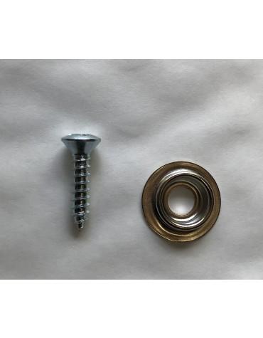 Rondelle de bouton pression de capote et sangle 2cv + vis  3.5 x 16