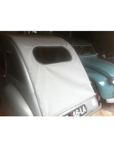 Capote 2CV  neuve toile coton, longue gris clair  avec petite glace  ovale 2 CV avant 1957 photo non contractuelle*