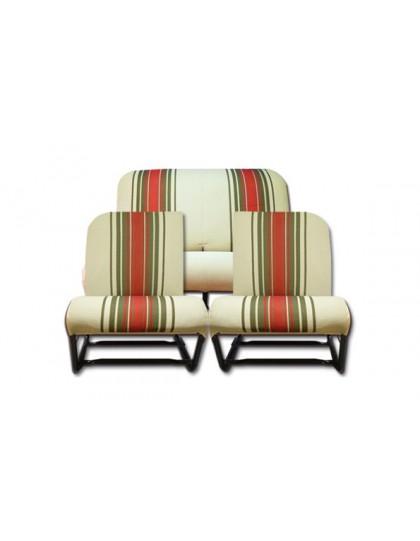 Ensemble de garnitures de sièges rayé rouge asymétrique 2CV Dyane