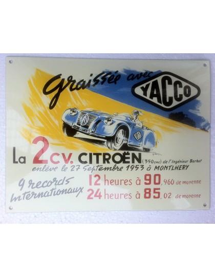 Plaque émaillée bombée 2cv Barbot Yacco à Montlhéry