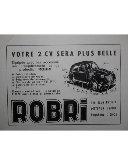 Publicité d'époque pour les enjoliveurs Robri pour la 2cv