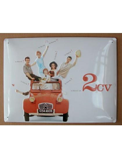 Plaque métal 2CV 30x 40 découvrez nos offres en boutique cadeaux 2cv