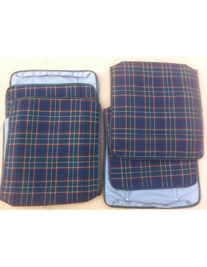 Ensemble de 4 garnitures de siège motif écossais pour 2cv ancienne