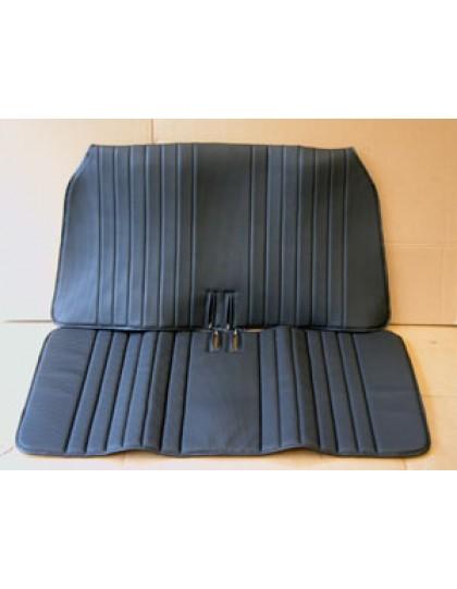 Garniture de banquette avant 2cv en  targa noir, assise + dossier en 2 parties