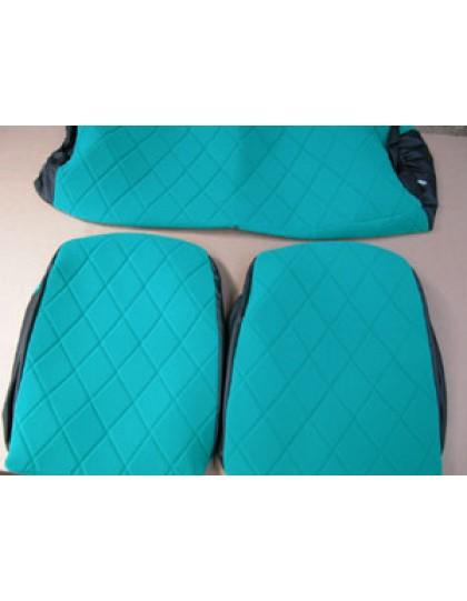 Housses de sièges + banquette2 cv et Dyane tissu vert