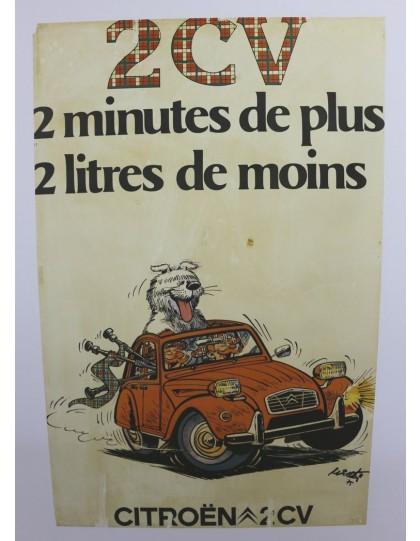 Affiche 2cv deux minutes en plus 2 litre de moins