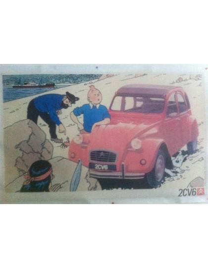 Affiche Tintin 2cv rouge