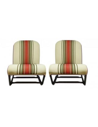 Ensemble de 2 garnitures de sièges 2cv/Dyane dossier symétrique rayé rouge