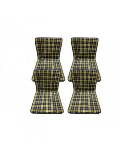 Ensemble de 4 garnitures de sièges 2CV écossais bleus rayés jaunes, montage avec anneaux