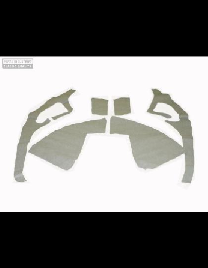 Ensemble de garnitures de custodes en feutrine grise comme à l'origine avec découpe de la  3e glace pour 2cv + passages de roues offerts en feutrine grise comme à l'origine prêtes à poser