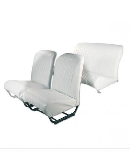 Ensemble de garnitures de sièges 2cv dossier symétriques + banquette arrière en skai blanc