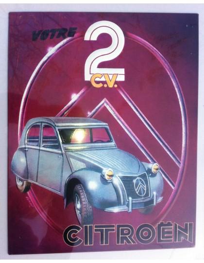 Plaque en tôle emboutie Votre 2cv  Citroën