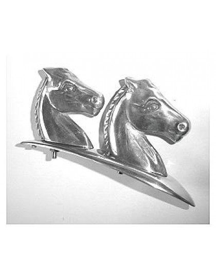 Motif  deux têtes de cheval alignées à monter sur sur le capot de la  2cv