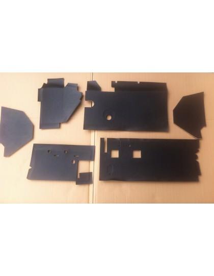 Garniture noire de planche de bord 2cv après 1970  6 pièces avec insonorisant