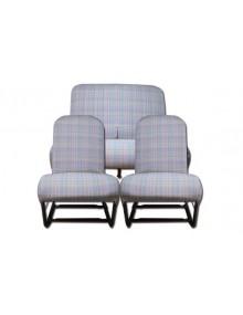 Ensemble de garnitures de sièges 2cv écossais  bleus chinés symétriques + banquette arrière