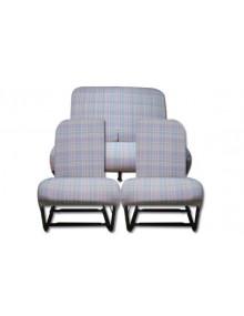 Ensemble de garnitures des sièges 2cv écossais bleus chinés asymétriques + banquette arrière