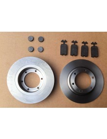 Ensemble disques de freins + plaquettes de freins + plaquettes de freins de parking marque roadhouse ou klaxcar selon arrivage livraison offerte en France continentale