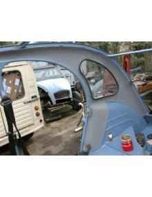 Habillage intérieur latéral gris clair, 2CV limousine avec glace de custode, 2 côtés + passages de roue les 4 pièces découpées au gabarit prêtes à poser + aérosol de colle offert livraison offerte en France continentale