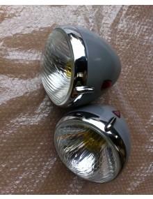 Paire de phare marchal neufs avec porte chromée* plus cuvelage (occasion)
