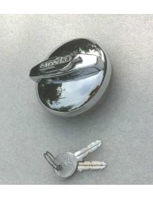Bouchon de réservoir chromé avec clé et logo pour 2cv Type A et AU avril 1954 Traction avant Juillet 1952 diamètre 65 mm