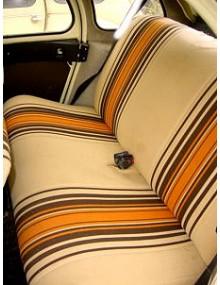 Tissu rayé beige et orange
