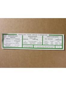 Notice d'utilisation 2CV AZU avec liseré vert  à coller sur le pare soleil