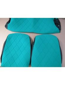 Housses de sièges + banquette2 cv et Dyane tissu vert sur commande