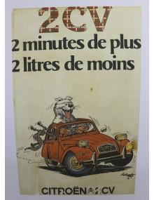 Affiche 2cv deux minutes en plus 2 litres de moins