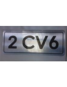 Autocollant 2cv6 noir sur fond argent