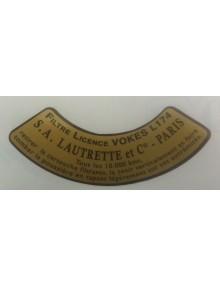 Autocollant en demi cercle pour filtre à air Lautrette licence Vokes Livraison offerte en France continentale